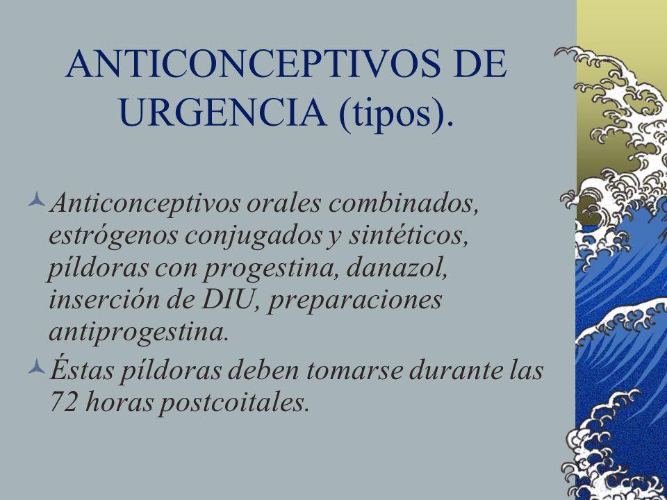 ANTICONCEPTIVOS DE URGENCIA (tipos). Anticonceptivos orales combinados, estrógenos conjugados y sintéticos, píldoras con progestina, danazol, inserció