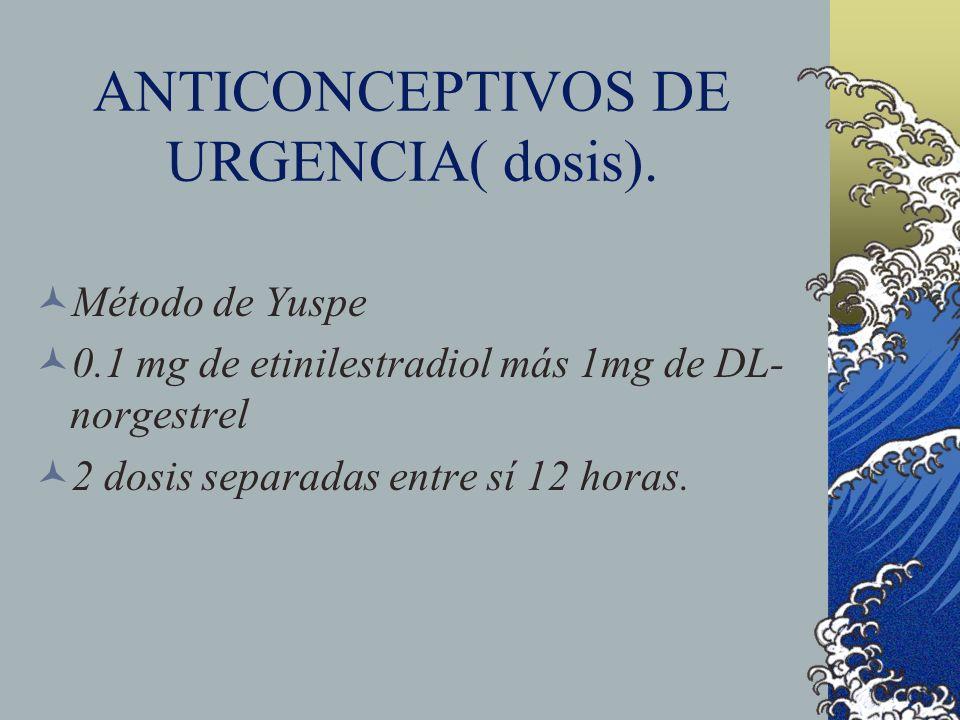 ANTICONCEPTIVOS DE URGENCIA( dosis). Método de Yuspe 0.1 mg de etinilestradiol más 1mg de DL- norgestrel 2 dosis separadas entre sí 12 horas.