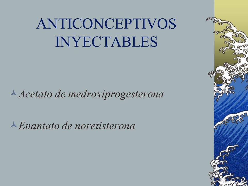 ANTICONCEPTIVOS INYECTABLES Acetato de medroxiprogesterona Enantato de noretisterona