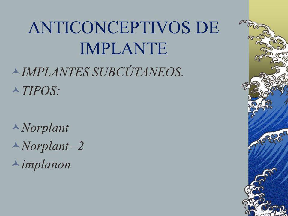 ANTICONCEPTIVOS DE IMPLANTE IMPLANTES SUBCÚTANEOS. TIPOS: Norplant Norplant –2 implanon