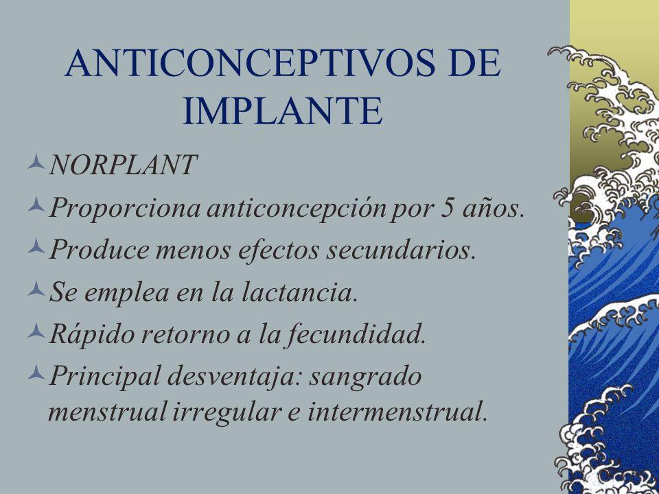 ANTICONCEPTIVOS DE IMPLANTE NORPLANT Proporciona anticoncepción por 5 años. Produce menos efectos secundarios. Se emplea en la lactancia. Rápido retor
