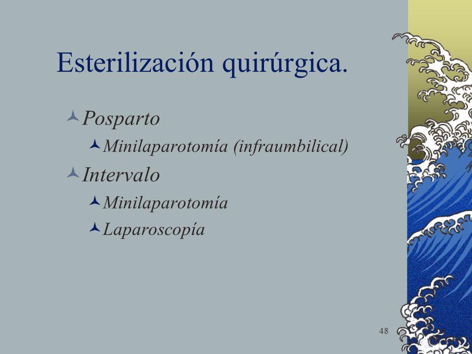 48 Esterilización quirúrgica. Posparto Minilaparotomía (infraumbilical) Intervalo Minilaparotomía Laparoscopía