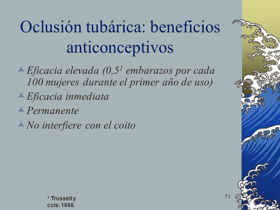 51 Oclusión tubárica: beneficios anticonceptivos Eficacia elevada (0,5 1 embarazos por cada 100 mujeres durante el primer año de uso) Eficacia inmedia