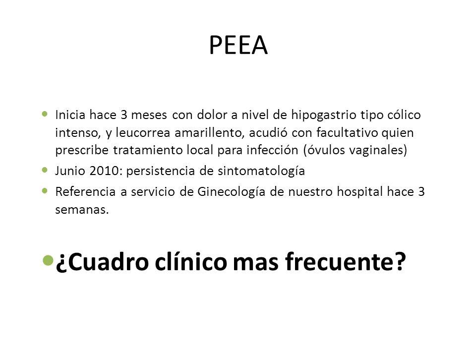 PEEA Inicia hace 3 meses con dolor a nivel de hipogastrio tipo cólico intenso, y leucorrea amarillento, acudió con facultativo quien prescribe tratami