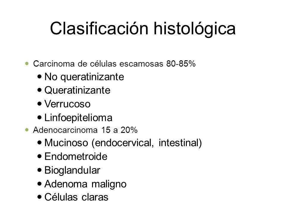 Clasificación histológica Carcinoma de células escamosas 80-85% No queratinizante Queratinizante Verrucoso Linfoepitelioma Adenocarcinoma 15 a 20% Muc