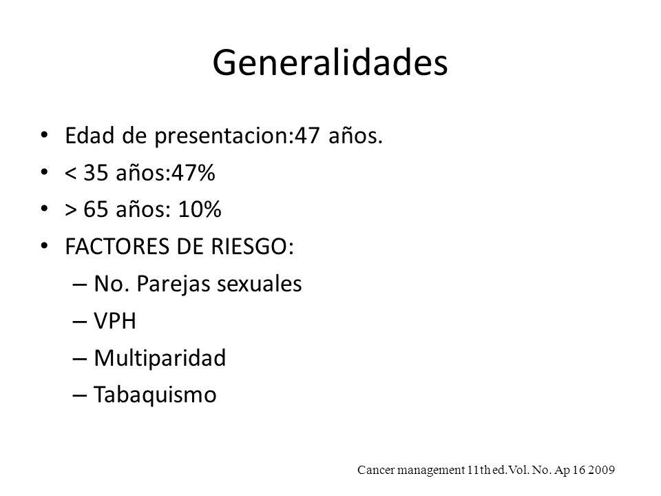 Generalidades Edad de presentacion:47 años. < 35 años:47% > 65 años: 10% FACTORES DE RIESGO: – No. Parejas sexuales – VPH – Multiparidad – Tabaquismo
