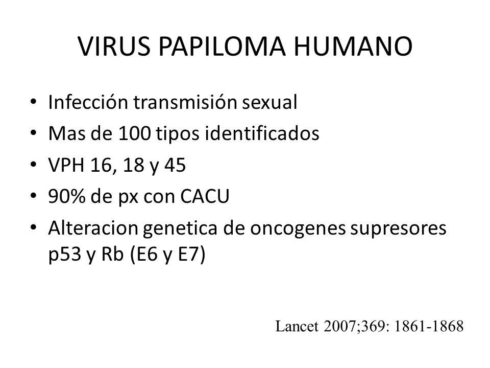 VIRUS PAPILOMA HUMANO Infección transmisión sexual Mas de 100 tipos identificados VPH 16, 18 y 45 90% de px con CACU Alteracion genetica de oncogenes