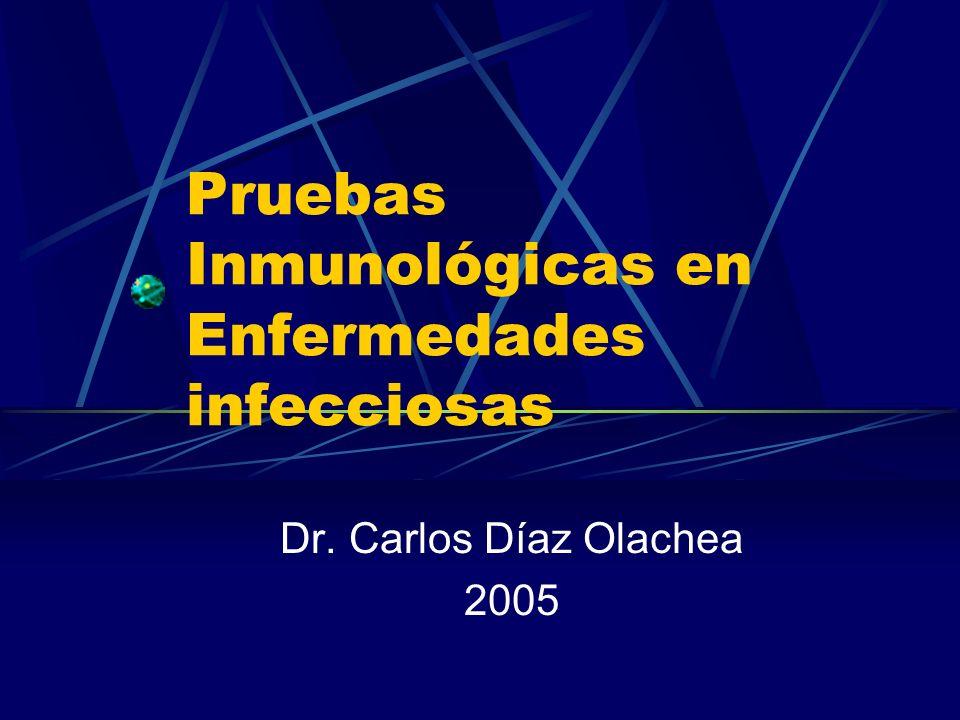 Termino aplicado en Patología Clínica a la metodología empleada en la detección de enfermedades infecciosas pueden ser: Detección de Antígenos directos Detección de la respuesta inmune (Anticuerpos ó células sensibilizadas) del huésped al antígeno específico Detección indirecta de respuesta inmune a otros antígenos( Reacción cruzada)