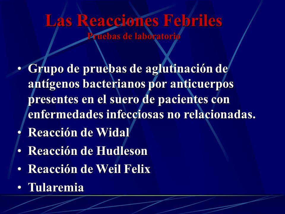 Las Reacciones Febriles Pruebas de laboratorio Grupo de pruebas de aglutinación de antígenos bacterianos por anticuerpos presentes en el suero de paci