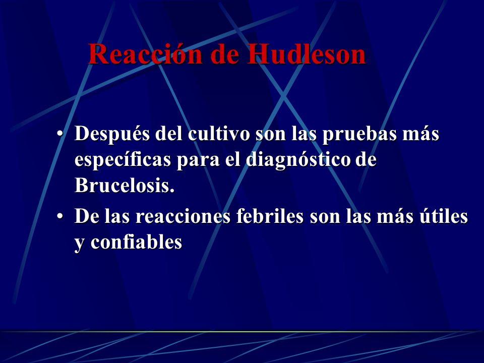 Reacción de Hudleson Después del cultivo son las pruebas más específicas para el diagnóstico de Brucelosis.Después del cultivo son las pruebas más esp