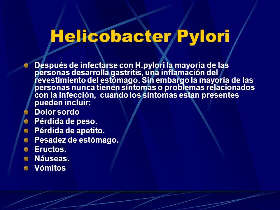 Después de infectarse con H.pylori la mayoría de las personas desarrolla gastritis, una inflamación del revestimiento del estómago. Sin embargo la may