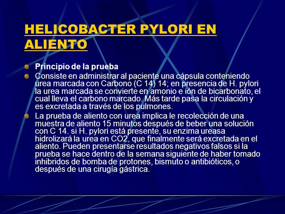 Principio de la prueba Consiste en administrar al paciente una cápsula conteniendo urea marcada con Carbono (C 14) 14; en presencia de H. pylori la ur