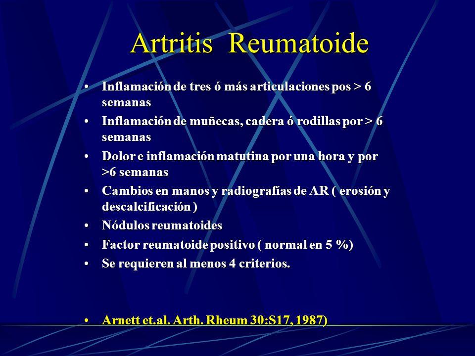 Inflamación de tres ó más articulaciones pos > 6 semanasInflamación de tres ó más articulaciones pos > 6 semanas Inflamación de muñecas, cadera ó rodi