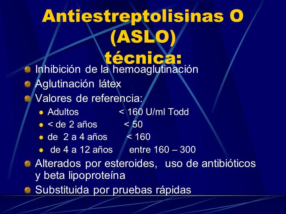 Inhibición de la hemoaglutinación Aglutinación látex Valores de referencia: Adultos < 160 U/ml Todd < de 2 años < 50 de 2 a 4 años < 160 de 4 a 12 año