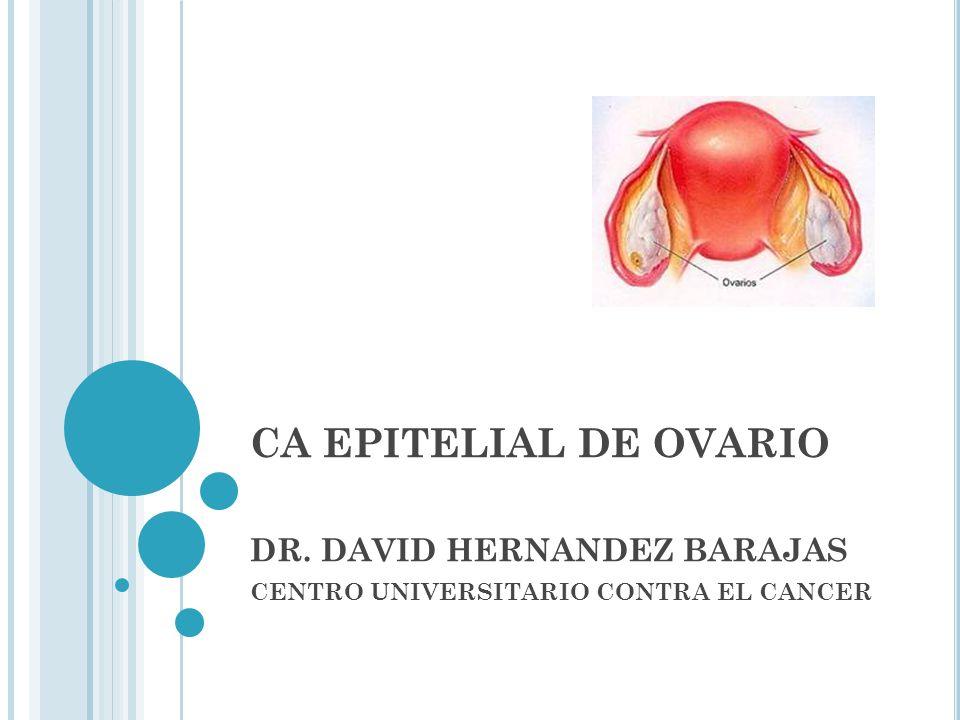 C UADRO CLÍNICO Discomfort, distensión abdominal Sangrado transvaginal Síntomas gastroitestinales Síntomas urinarios PAP anormal 1-2% Masa anexial palpable 70% EC avanzada al diagnóstico No EF ginecológica = retraso en el Dx.