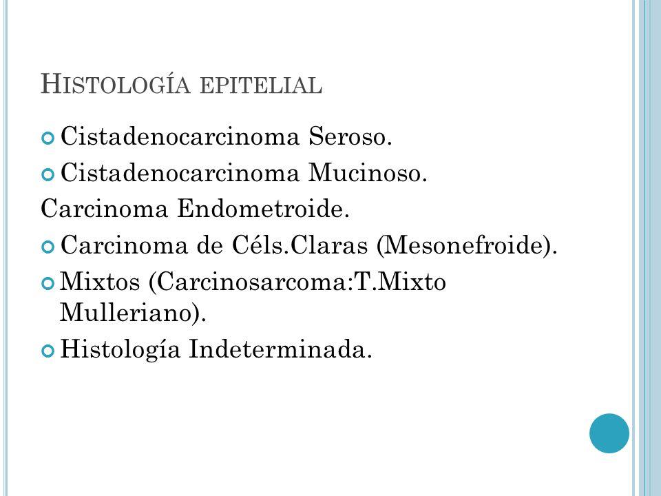 H ISTOLOGÍA EPITELIAL Cistadenocarcinoma Seroso. Cistadenocarcinoma Mucinoso. Carcinoma Endometroide. Carcinoma de Céls.Claras (Mesonefroide). Mixtos