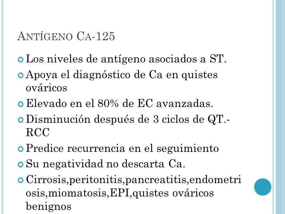 A NTÍGENO C A -125 Los niveles de antígeno asociados a ST. Apoya el diagnóstico de Ca en quistes ováricos Elevado en el 80% de EC avanzadas. Disminuci