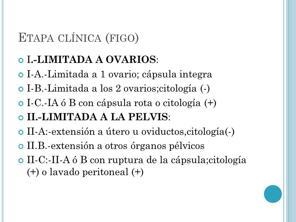 E TAPA CLÍNICA ( FIGO ) I.-LIMITADA A OVARIOS : I-A.-Limitada a 1 ovario; cápsula integra I-B.-Limitada a los 2 ovarios;citología (-) I-C.-IA ó B con