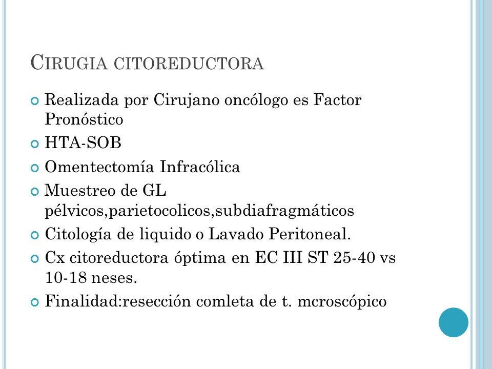 C IRUGIA CITOREDUCTORA Realizada por Cirujano oncólogo es Factor Pronóstico HTA-SOB Omentectomía Infracólica Muestreo de GL pélvicos,parietocolicos,su