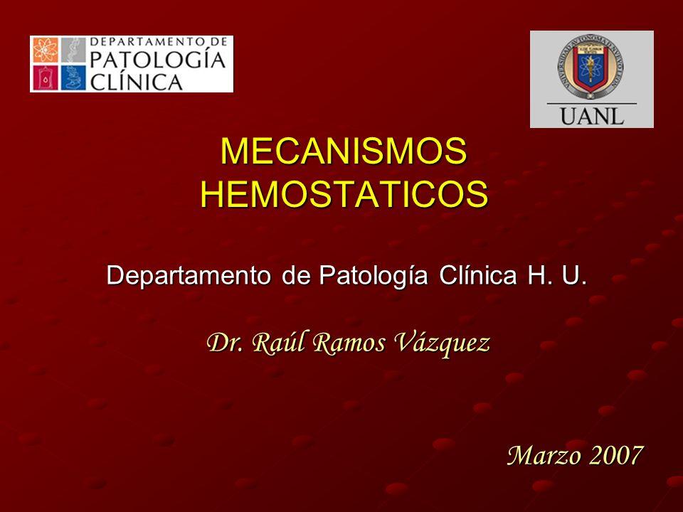 MECANISMOS HEMOSTATICOS Departamento de Patología Clínica H. U. Dr. Raúl Ramos Vázquez Marzo 2007