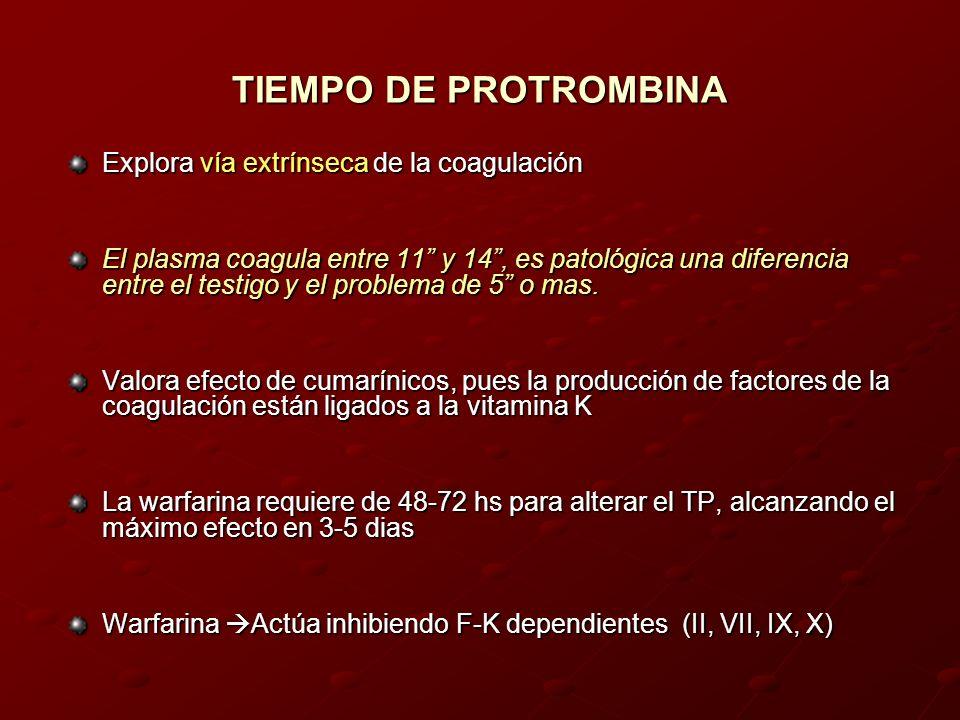 Explora vía extrínseca de la coagulación El plasma coagula entre 11 y 14, es patológica una diferencia entre el testigo y el problema de 5 o mas. Valo
