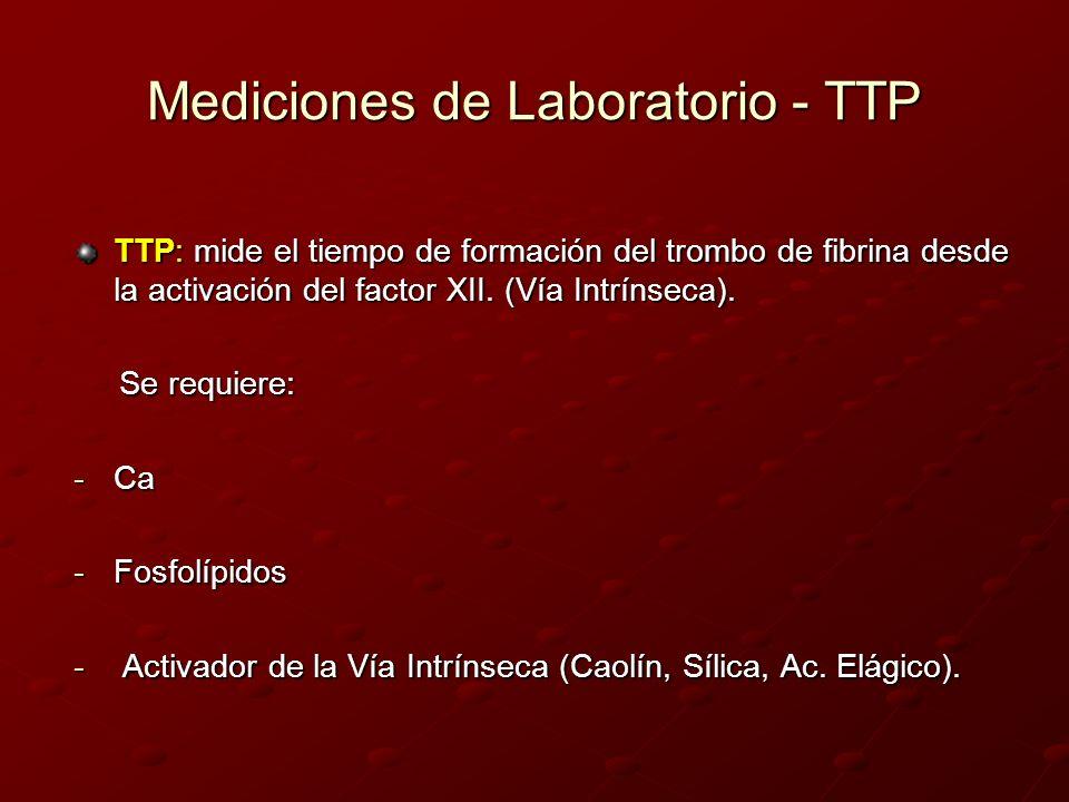 Mediciones de Laboratorio - TTP TTP: mide el tiempo de formación del trombo de fibrina desde la activación del factor XII. (Vía Intrínseca). Se requie