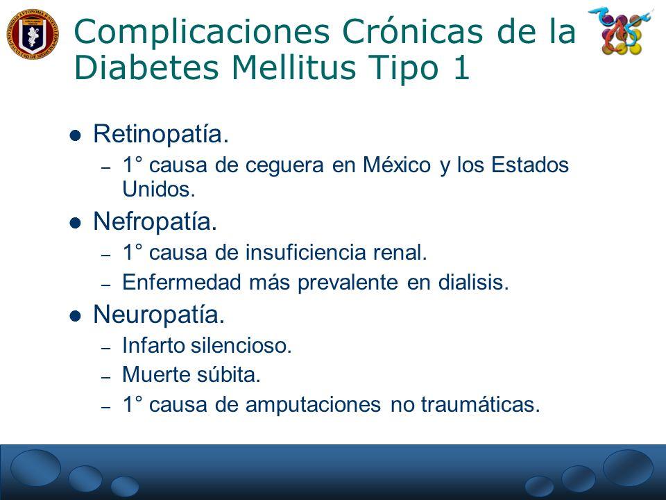 Estudio del Control y Complicaciones Diabetes Mellitus tipo 1 (DCCT) Antecedentes: – Complicaciones microvasculares: Retinopatía, Nefropatía.