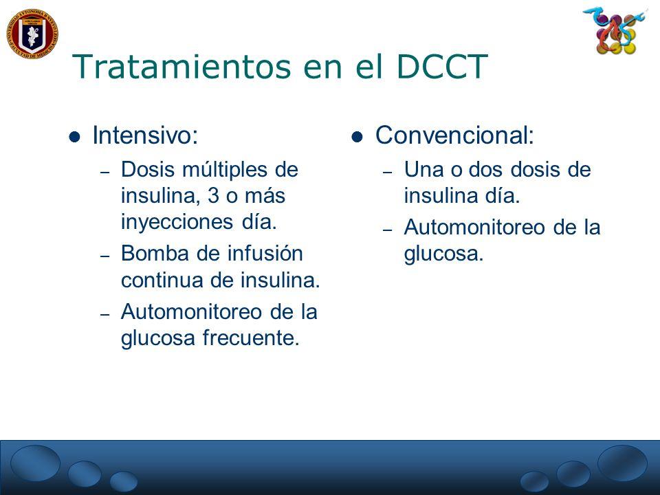 Resultados del DCCT Prevención primaria: – Reducción riesgo medio ajustado retinopatía 76 %.