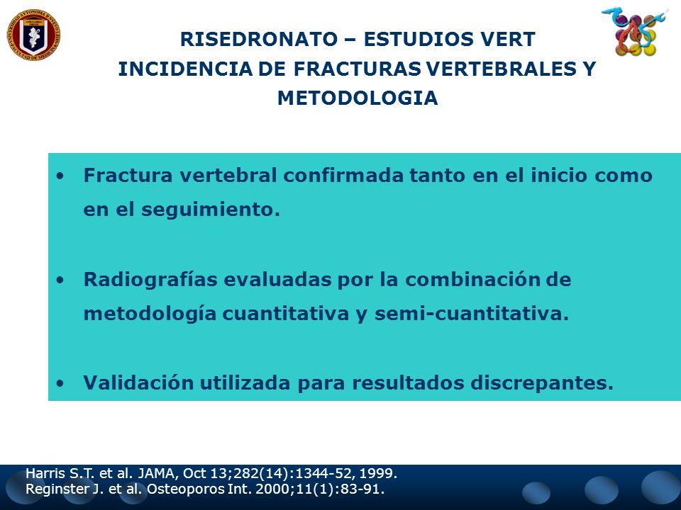 RISEDRONATO – ESTUDIOS VERT* DISEÑO DE LOS ESTUDIOS Total de 3.684 pacientes América del Norte (VERT-NA) Europa y Australia / Asia (VERT-MN) Por lo me