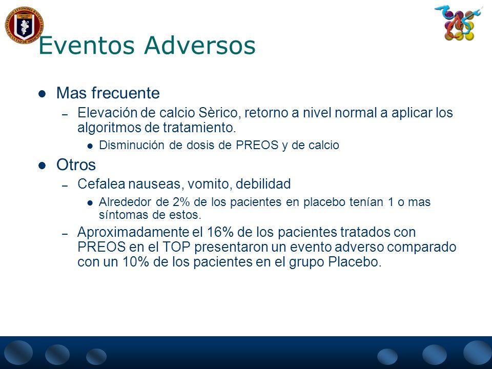 Resultados Un 68% de reducción del riesgo relativo de fractura vertebral (P0.006) fue documentado en pacientes tratados con PREOS quienes en el moment