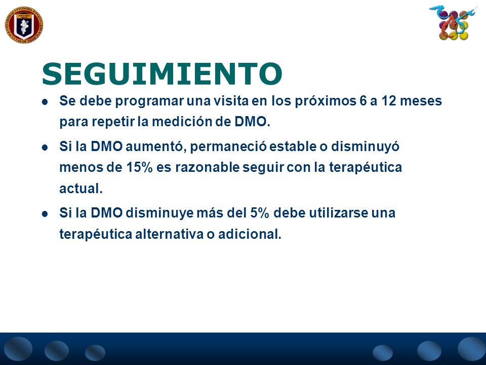 MONITORIZACIÓN DE TRATAMIENTO Evaluación Disminución de fracturas adicionales No pérdida adicional de talla No efectos colaterales del tratamiento Cum