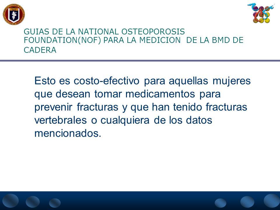 GUIAS DE LA NATIONAL OSTEOPOROSIS FOUNDATION(NOF) PARA LA MEDICION DE LA BMD DE CADERA b. Historia materna de fractura de cadera c. Tabaquismo actual