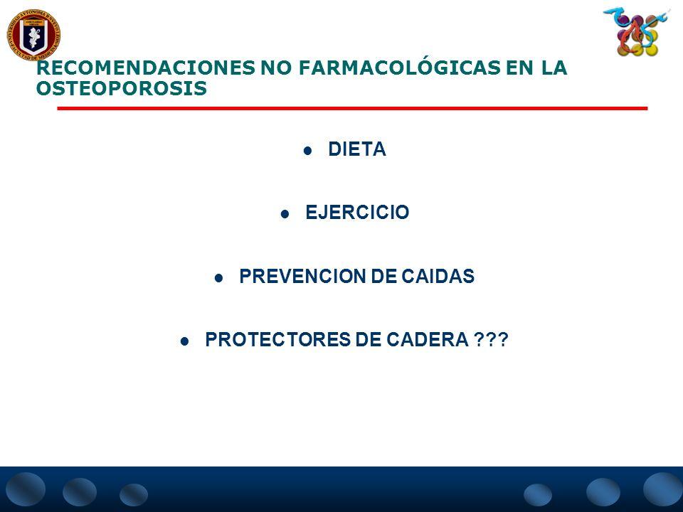 TRATAMIENTO FARMACOLOGICONO FARMACOLOGICO El objetivo del tratamiento en osteoporosis es reducir la incidencia de fracturas.