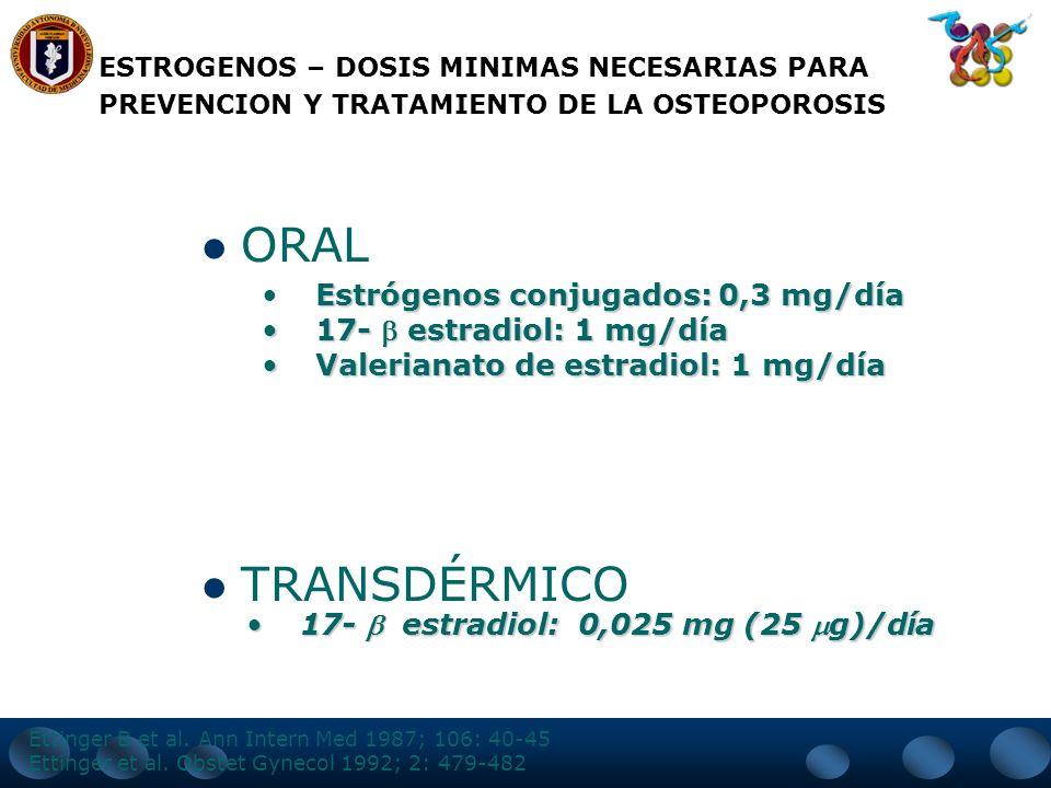 ESTROGENOS SU EFECTO ES DOSIS DEPENDIENTE: 0.625 mg de estrógenos conjugados, 2 mg de valerianato de estradiol vía oral o 50 mg transdérmicos son sufi