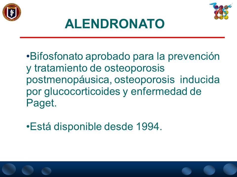 RESUMEN DE LAS PRINCIPALES PROPRIEDADES FARMACOLOGICAS DE LOS BISFOSFONATOS No demostró Sí No Vertebrales Oral Intravenosa Oral Vía de administración