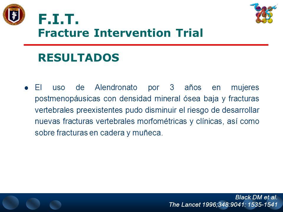 FRACTURA DE CADERA Block D. et al. Lancet 1998:348 1535-41 0 5 Placebo (n = 1005)Alendronato (n = 1022) P = 0.047 2.2 1.1 % de pacientes Estudio FIT 5