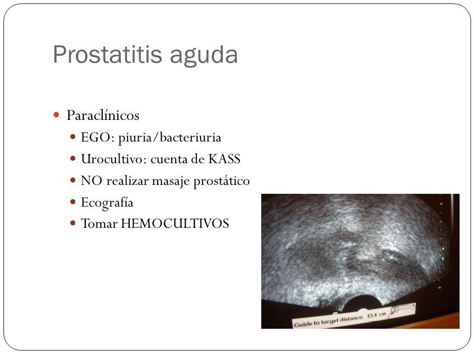Prostatitis aguda Paraclínicos EGO: piuria/bacteriuria Urocultivo: cuenta de KASS NO realizar masaje prostático Ecografía Tomar HEMOCULTIVOS