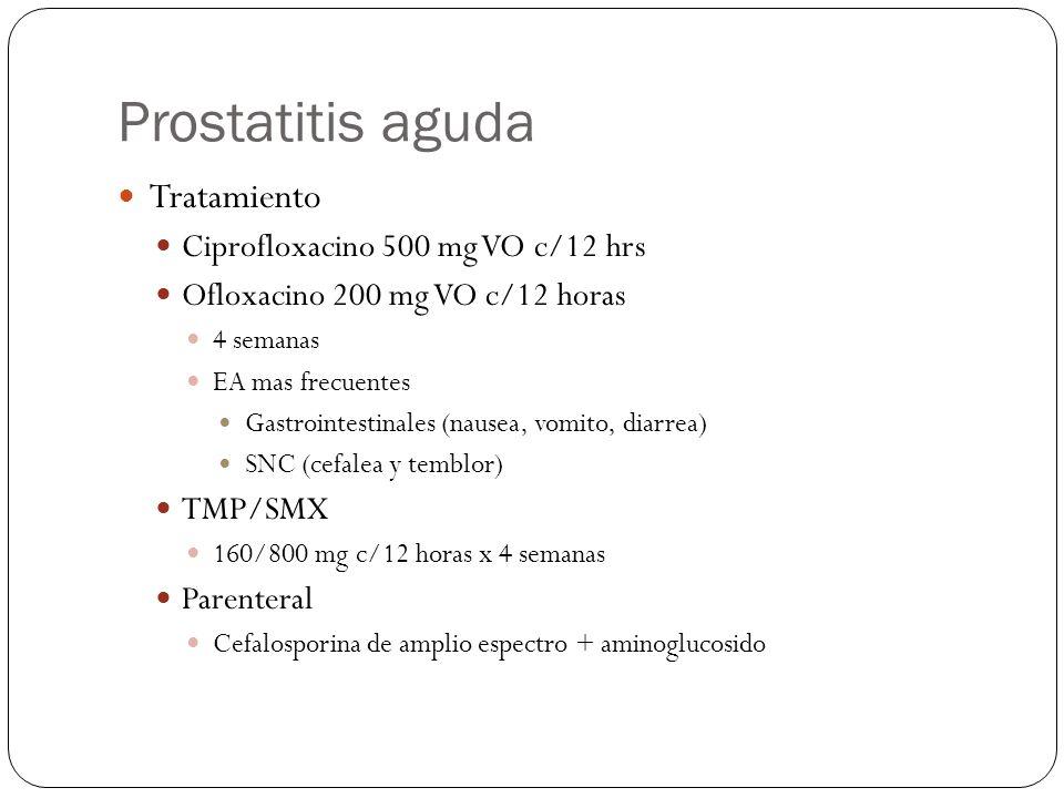 Tratamiento Ciprofloxacino 500 mg VO c/12 hrs Ofloxacino 200 mg VO c/12 horas 4 semanas EA mas frecuentes Gastrointestinales (nausea, vomito, diarrea)