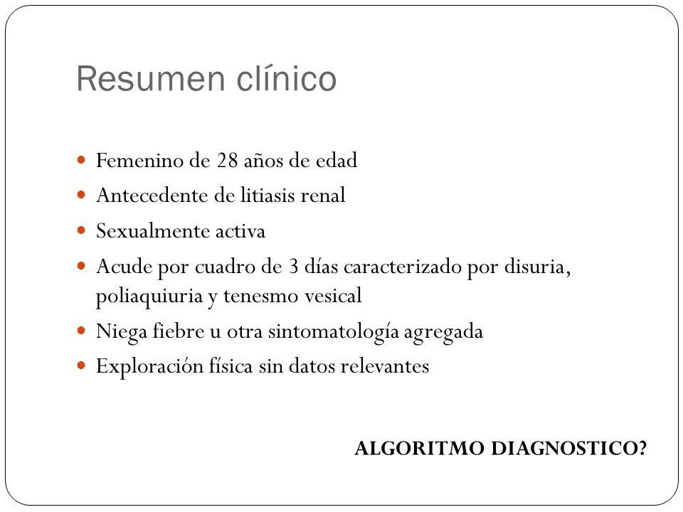 Resumen clínico Femenino de 28 años de edad Antecedente de litiasis renal Sexualmente activa Acude por cuadro de 3 días caracterizado por disuria, pol