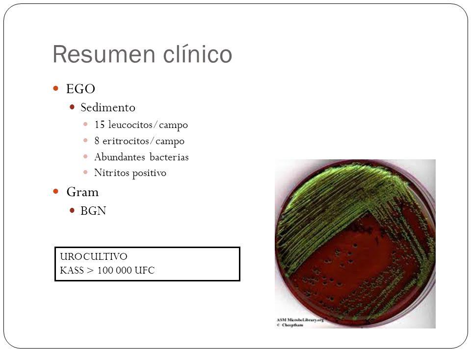 Resumen clínico EGO Sedimento 15 leucocitos/campo 8 eritrocitos/campo Abundantes bacterias Nitritos positivo Gram BGN UROCULTIVO KASS > 100 000 UFC