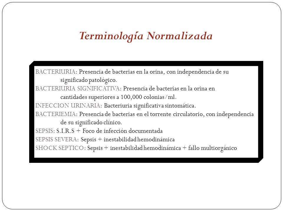 BACTERIURIA: Presencia de bacterias en la orina, con independencia de su significado patológico. BACTERIURIA SIGNIFICATIVA: Presencia de bacterias en