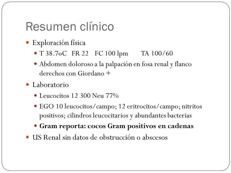 Resumen clínico Exploración física T 38.7oCFR 22FC 100 lpmTA 100/60 Abdomen doloroso a la palpación en fosa renal y flanco derechos con Giordano + Lab