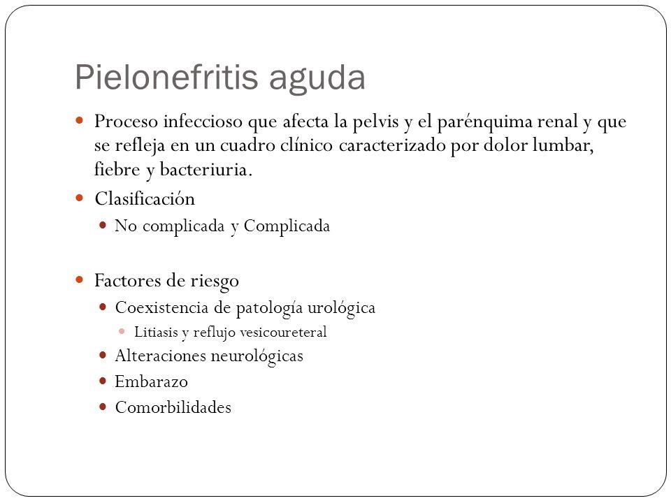 Pielonefritis aguda Proceso infeccioso que afecta la pelvis y el parénquima renal y que se refleja en un cuadro clínico caracterizado por dolor lumbar