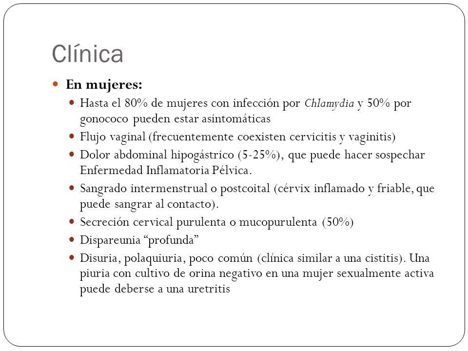 Diagnostico Tinción de Gram de la secreción Diplococcos Gram negativos (Gonorrea) Cultivo (método de elección) de la secreción uretral o cervical, o de la primera orina.