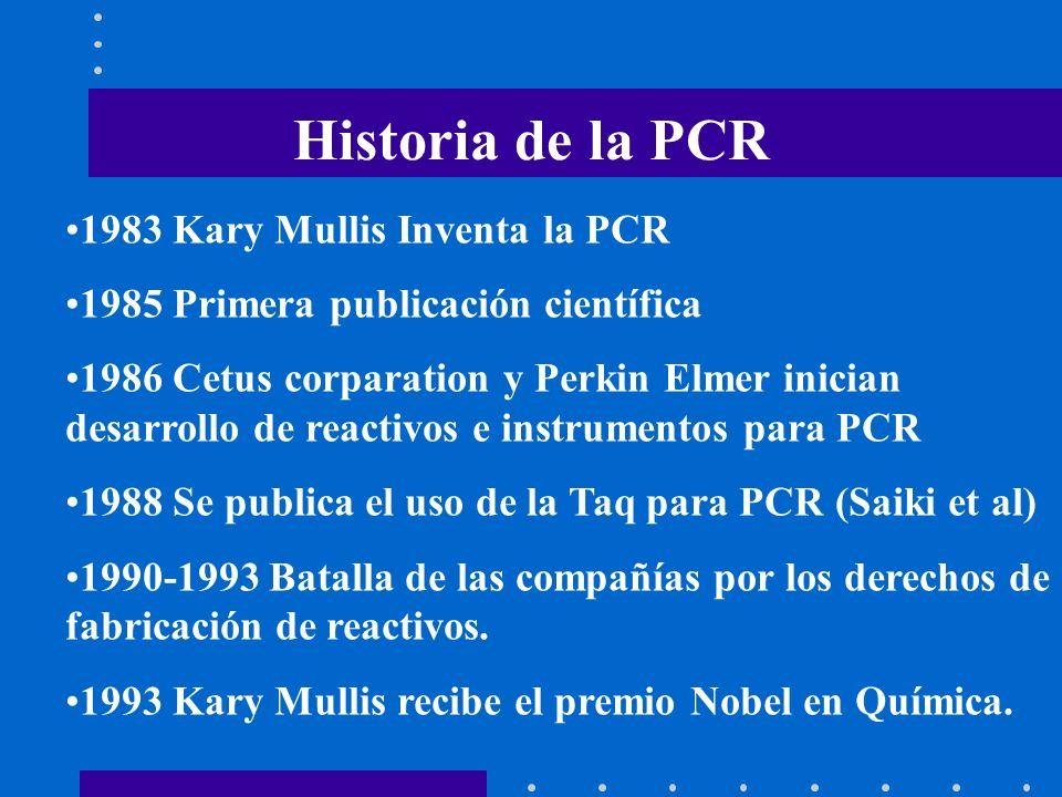Historia de la PCR 1983 Kary Mullis Inventa la PCR 1985 Primera publicación científica 1986 Cetus corparation y Perkin Elmer inician desarrollo de rea