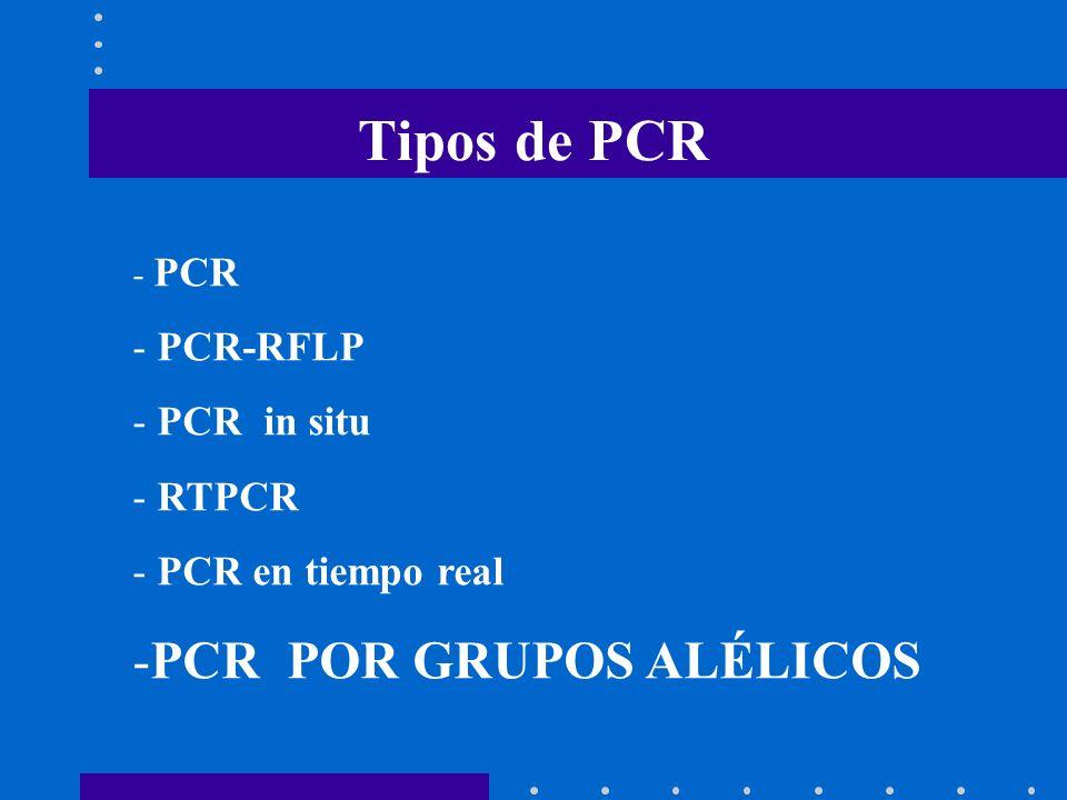 Tipos de PCR - PCR - PCR-RFLP - PCR in situ - RTPCR - PCR en tiempo real -PCR POR GRUPOS ALÉLICOS