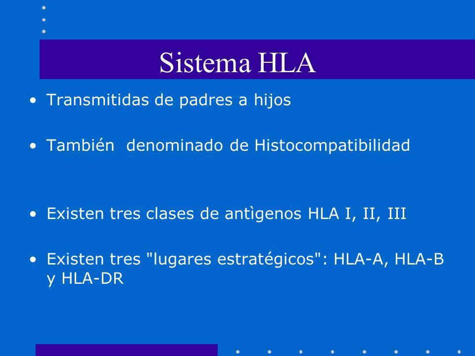 Sistema HLA Transmitidas de padres a hijos También denominado de Histocompatibilidad Existen tres clases de antìgenos HLA I, II, III Existen tres