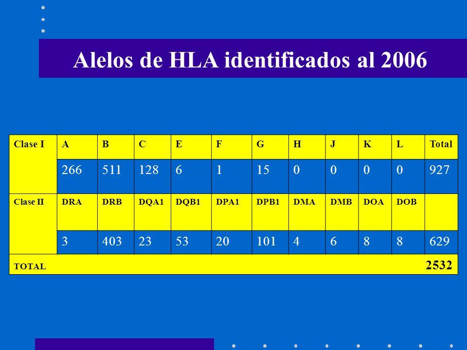 Clase IABCEFGHJKLTotal 26651112861150000927 Clase IIDRADRBDQA1DQB1DPA1DPB1DMADMBDOADOB 34032353201014688629 TOTAL 2532 Alelos de HLA identificados al