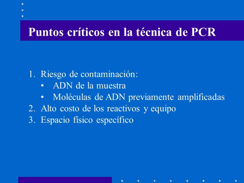 Puntos críticos en la técnica de PCR 1.Riesgo de contaminación: ADN de la muestra Moléculas de ADN previamente amplificadas 2.Alto costo de los reacti