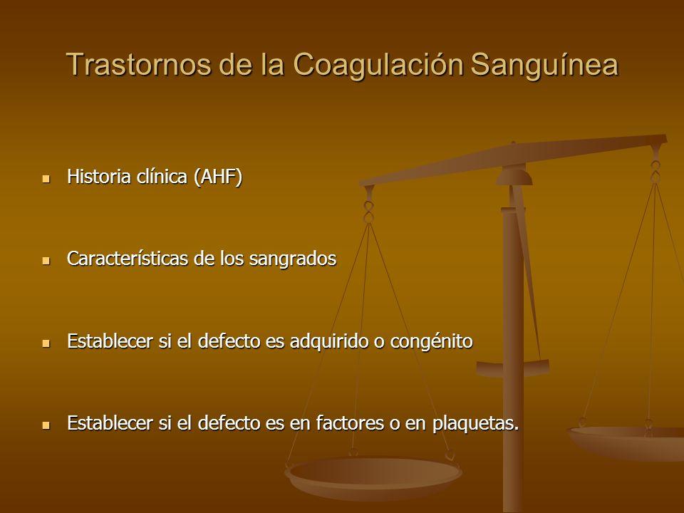 Trastornos de la Coagulación Sanguínea Historia clínica (AHF) Historia clínica (AHF) Características de los sangrados Características de los sangrados